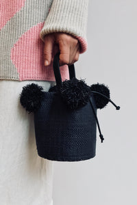 Edun Raffia Mini Pom Pom Bag