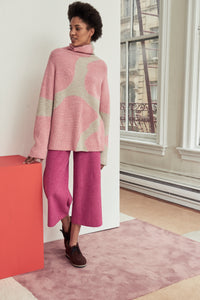 Edun Giraffe Intarsia Funnel Neck Sweater