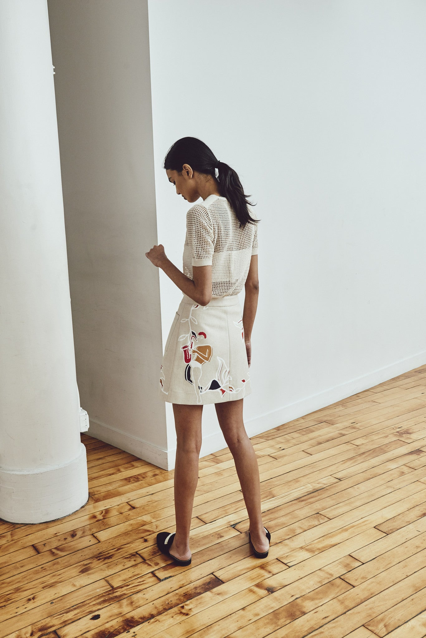HARLEM DANCE LINEN MINI SKIRT