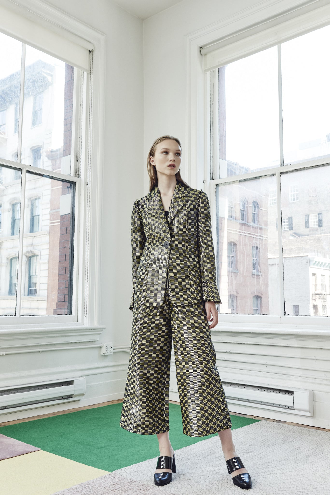 LUREX CHECK JACKET WITH FLUTTER SLEEVE
