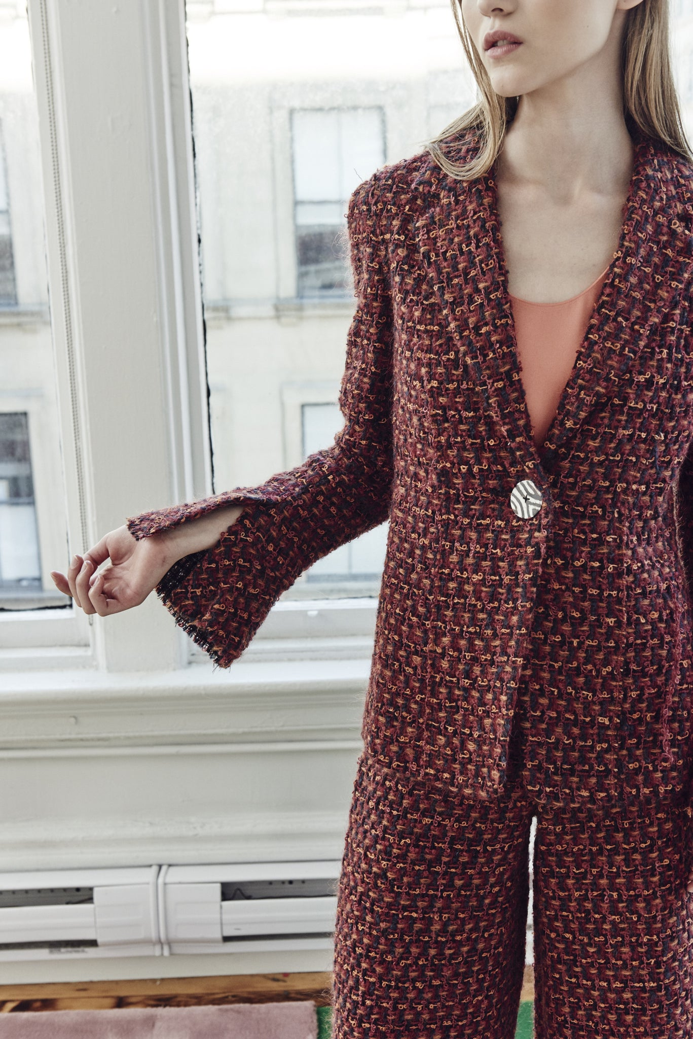 AFRICAN TWEED JACKET WITH FLUTTER SLEEVE
