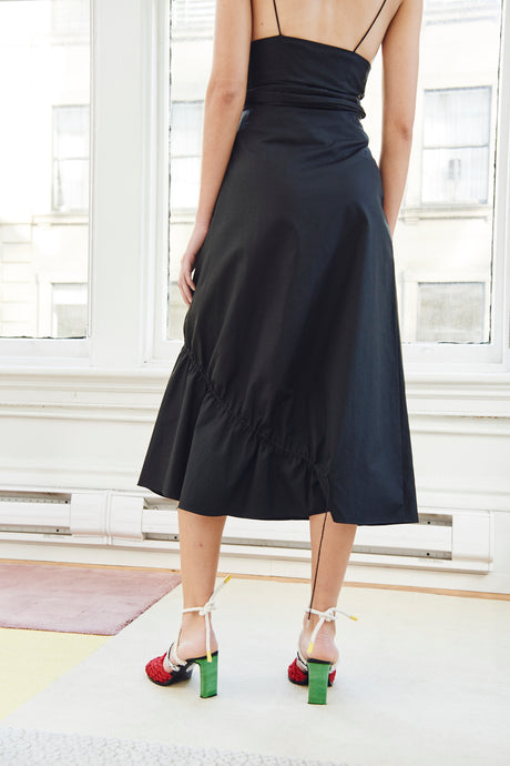 COTTON POPLIN ASYMMETRICAL DRAWCORD SKIRT