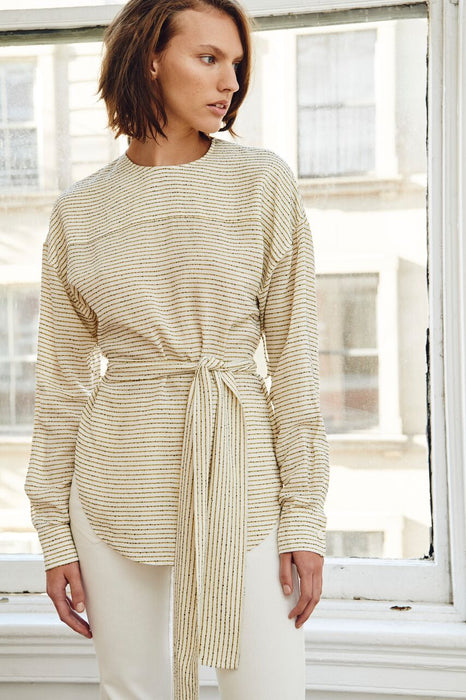 Edun Viscose Linen Stripe Open Back Blouse