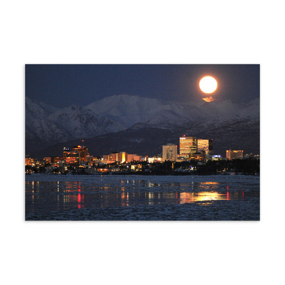 Anchorage Night Skyline Postcard
