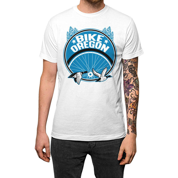 Bike Oregon Unisex Tee White Model