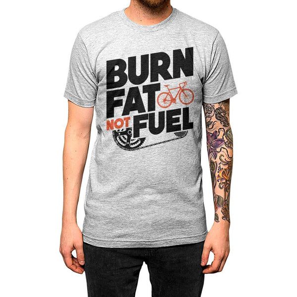 Burn Fat Not Fuel Unisex Tee Grey Model