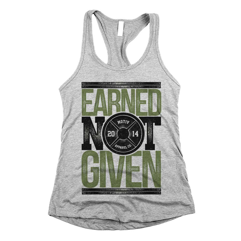 Earned Not Given Womens Racerback Tank Top Athletic Grey