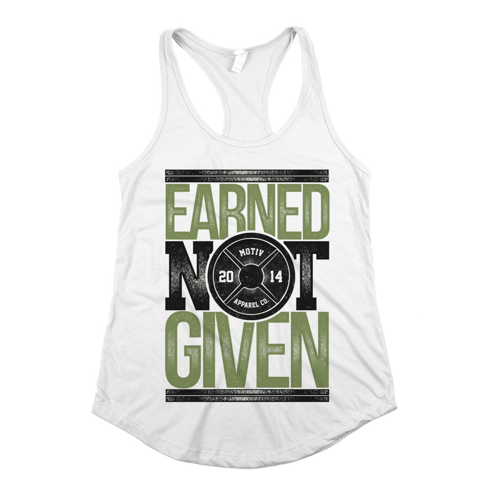 Earned Not Given Womens Racerback Tank Top White
