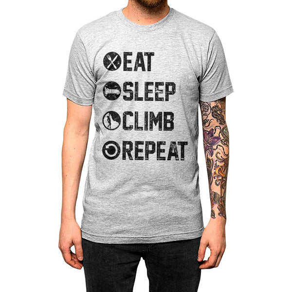 Eat Sleep Climb Repeat Shirt Athletic Grey Mens