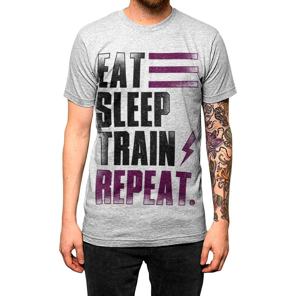 Eat Sleep Train Repeat. Unisex Tee Athletic Grey