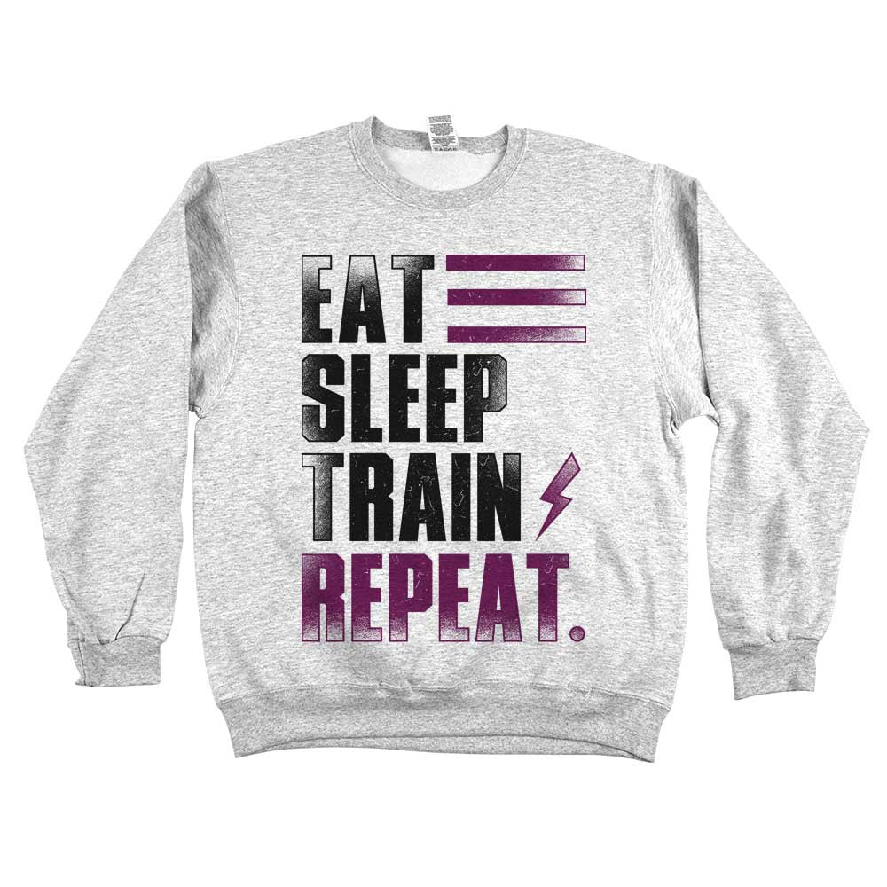 Eat Sleep Train Repeat. Unisex Sweatshirt Ash Grey