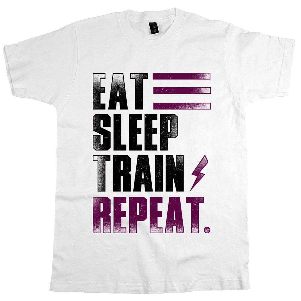 Eat Sleep Train Repeat. Unisex Tee White
