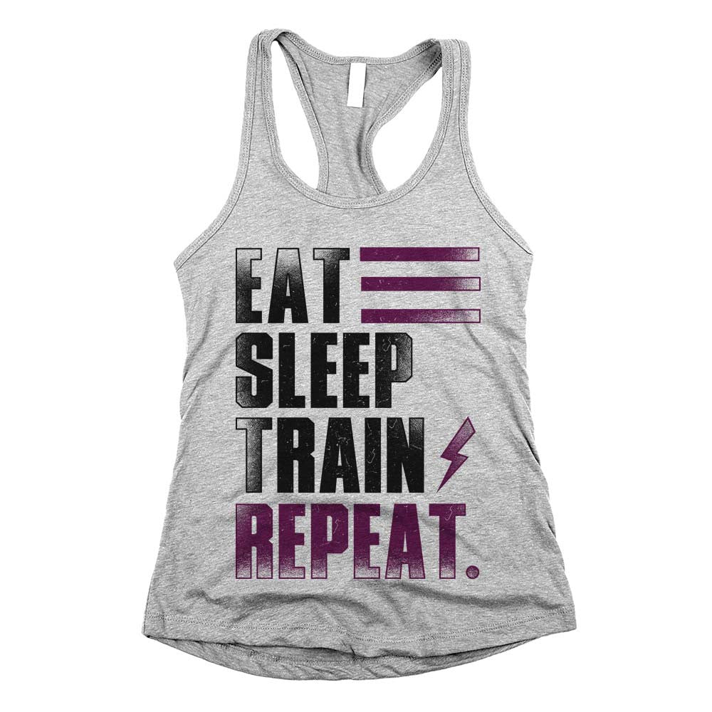 Eat Sleep Train Repeat. Womens Racerback Tank Top Athletic Grey