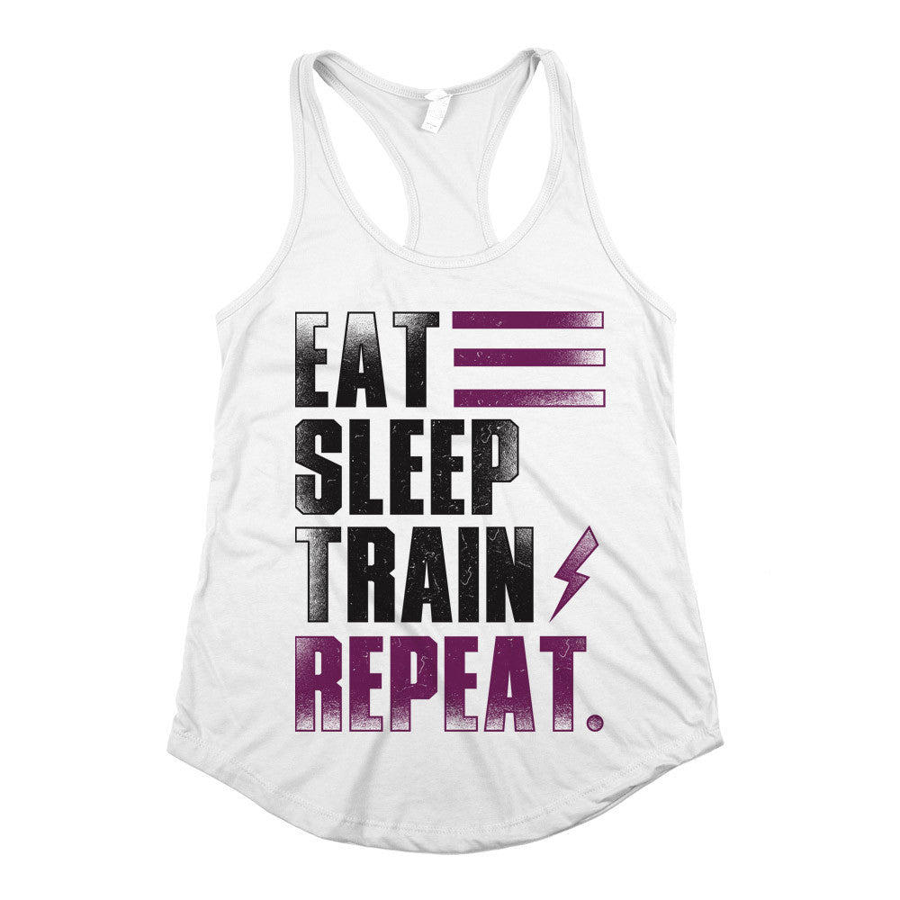 Eat Sleep Train Repeat. Womens Racerback Tank Top White