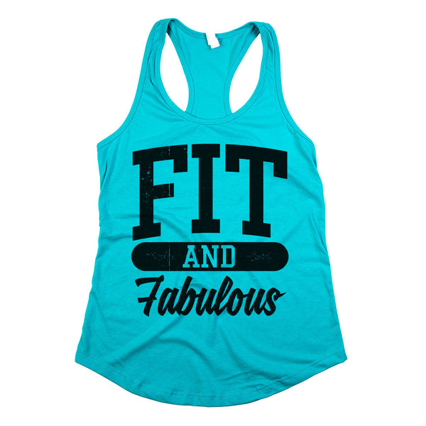 Fit and Fabulous Womens Racerback Tank Top Tahiti Teal