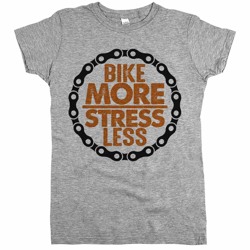Bike More Stress Less Womens Shirt Athletic Grey
