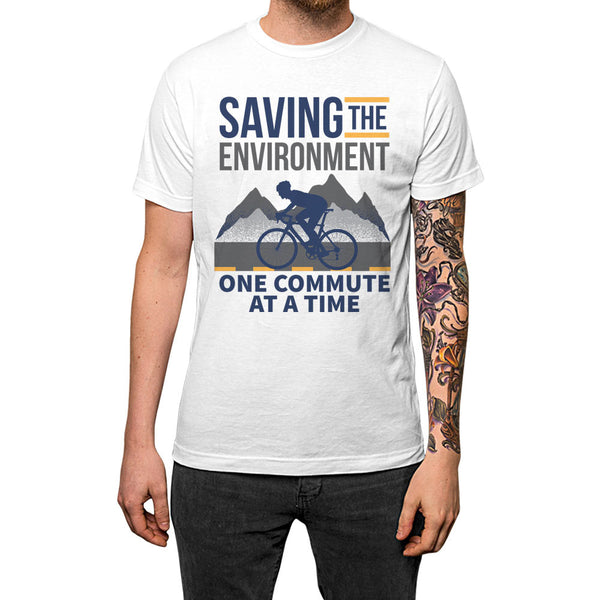 Saving The Environment One Commute At A Time Unisex Tee White Model