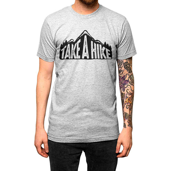 Take A Hike Unisex Tee Grey Model