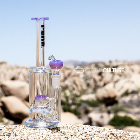 PuRR Glass - Nano Matrix Tube - Clear/Pink Slyme -  - Water Pipe - Cloud Culture - 4