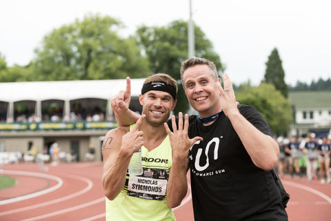 Nick Symmonds with Coach Sam Lapray after the 2015 USA Championships