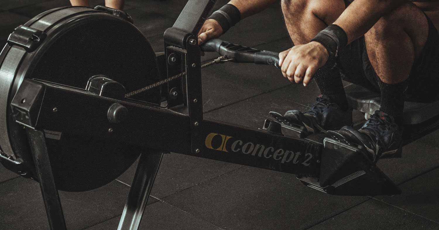 working out on a indoor rower