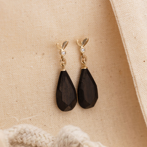 Olive Leaf Ebony Drop Earrings