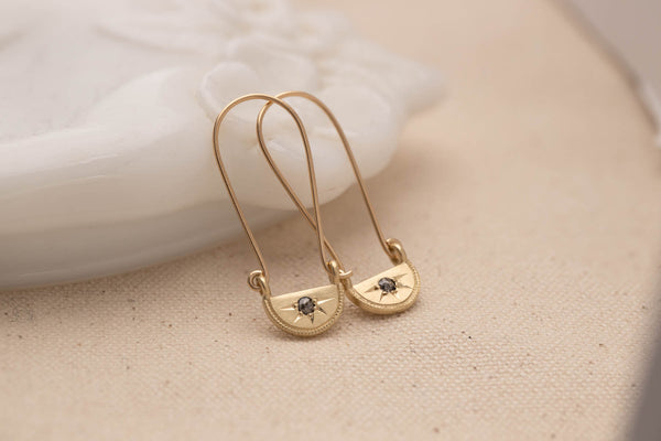 Gold Half Moon Diamond Drop Earrings
