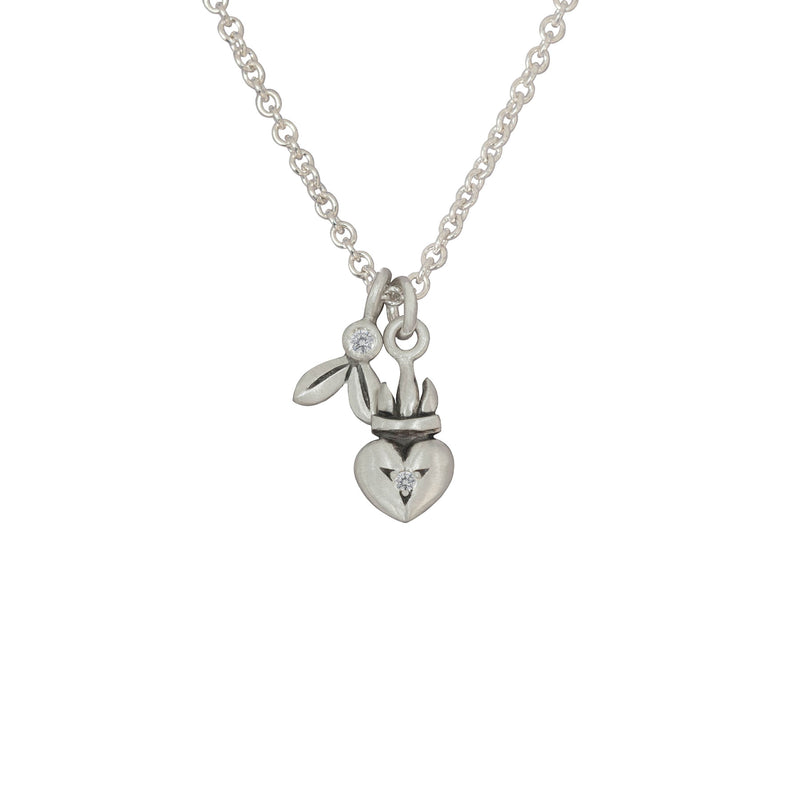 Silver Olive and Heart Pendant