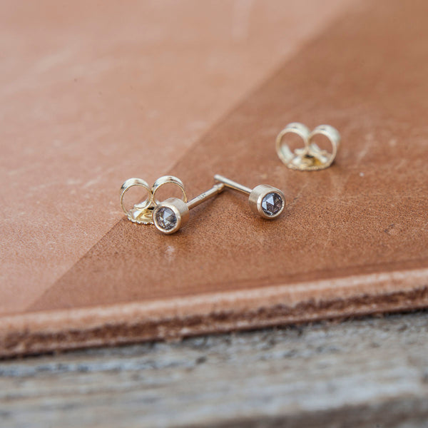 Dark Star Diamond Stud Earrings