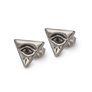 Evil Eye Black Diamond Stud Earrings