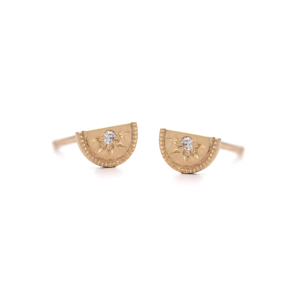 Mini Half Moon Diamond Stud Earrings