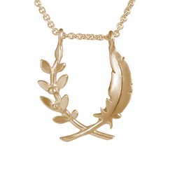 Small Feather and Olive Branch Pendant - Melissa Scoppa Jewelry