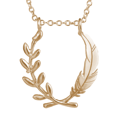 Large Feather and Olive Branch Pendant - Melissa Scoppa Jewelry