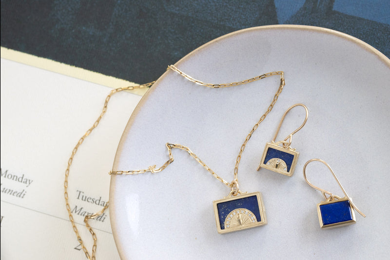 Lapis Sundial Shadow Box  Earrings