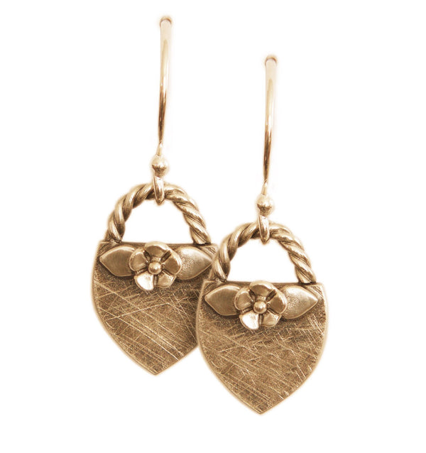 Gold Floral Crest Dangle Earrings - Melissa Scoppa Jewelry