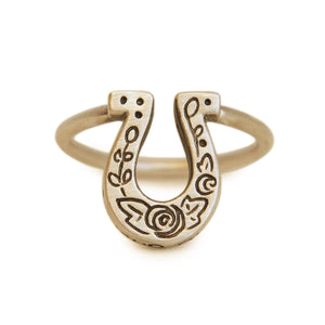 Gold Lucky Horseshoe Ring - Melissa Scoppa Jewelry