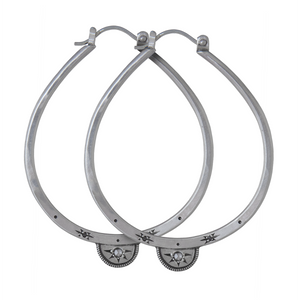 Silver Half Moon Diamond Luna Hoops