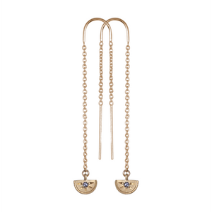 Gold Half Moon Diamond Threader Earrings