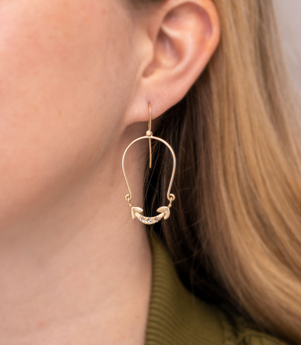 Olive Leaf Drop Earrings Gold