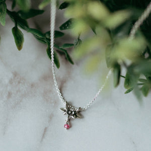 Tiny Gemstone Wildflower Pendant - Melissa Scoppa Jewelry