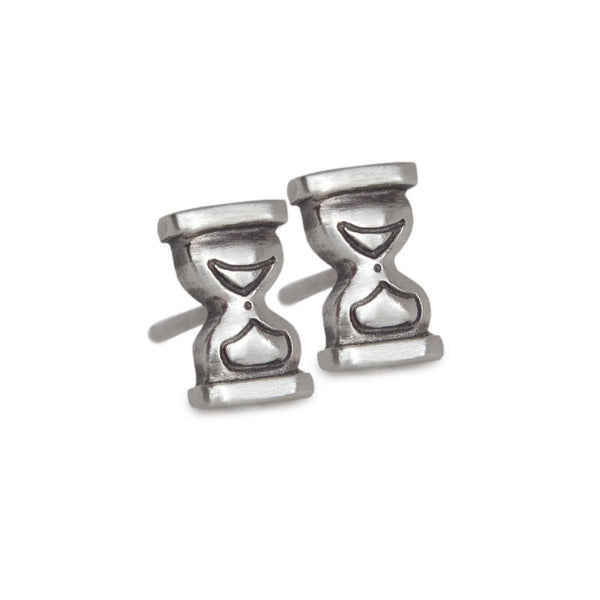 Tiny Hourglass Studs Pavé Diamonds