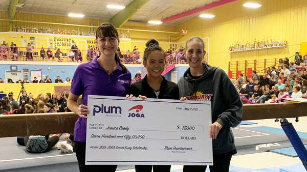 Plum Practicewear, in Partnership with JOGA,  Awards Gymnast Jessica Brady a $750 Gymnastics Scholarship