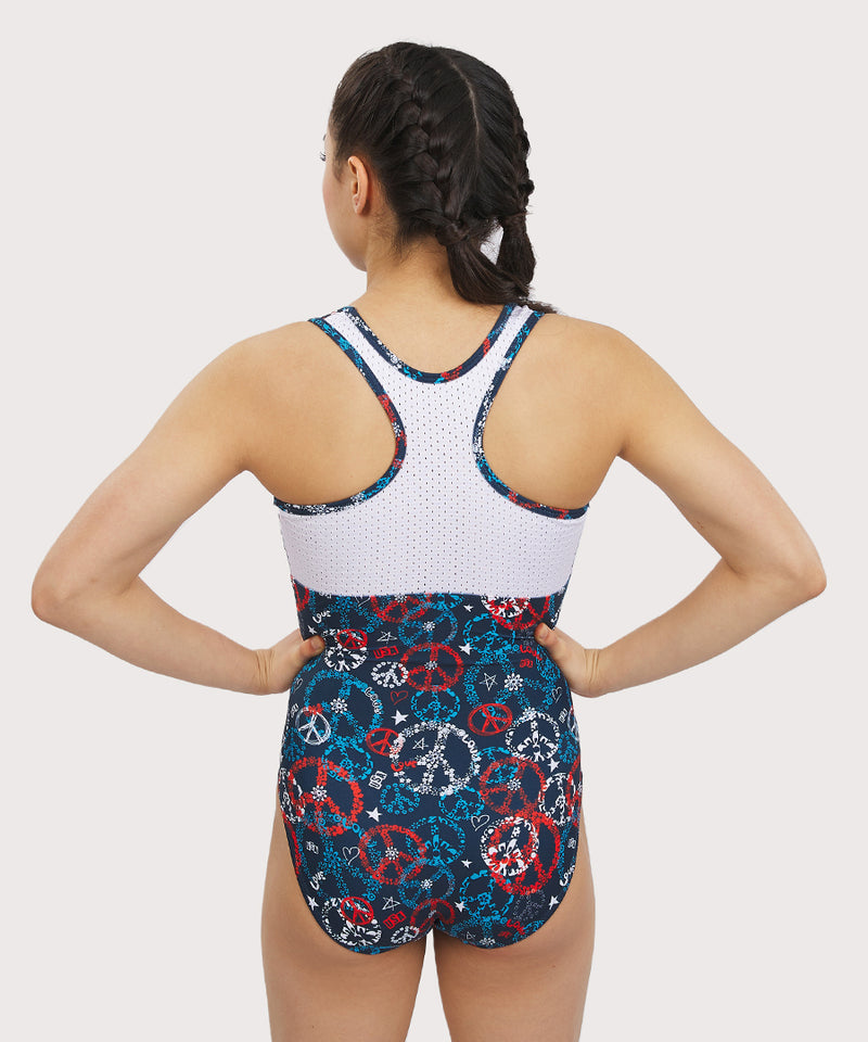 Plum Peace and Positivity Sport Mesh Racerback Leotard
