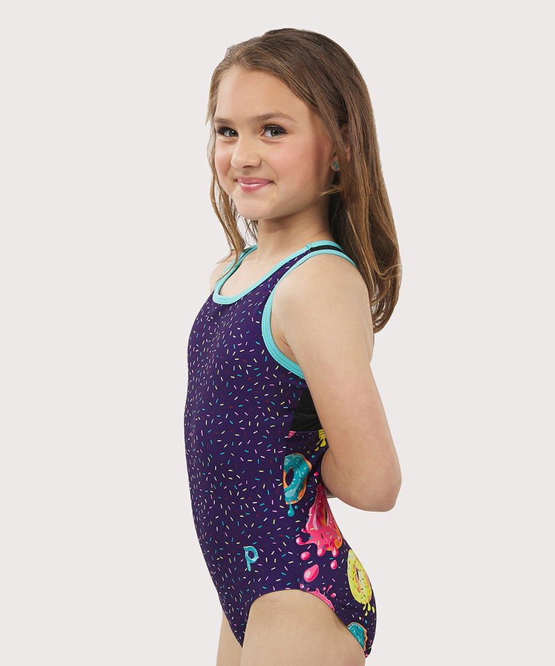 Plum Donut Stop Believing Mesh Flip Side Racerback Leotard