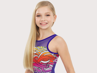 Plum Pipeline Mesh Leotard