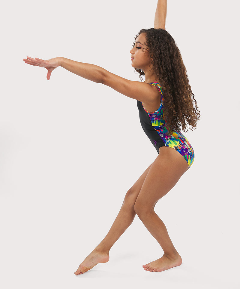 Plum Cares Drippin' Positivity  Flip Side Leotard