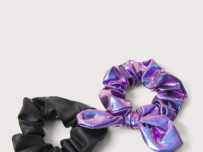 Plum Black & Iridescent Scrunchie Set
