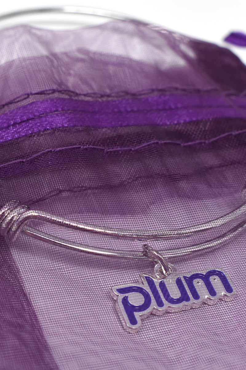 Plum Charm Bracelet with Purple Organza Bag