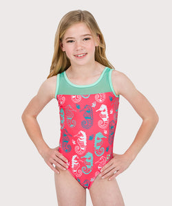 Plum Seahorsin Around Mesh Leotard