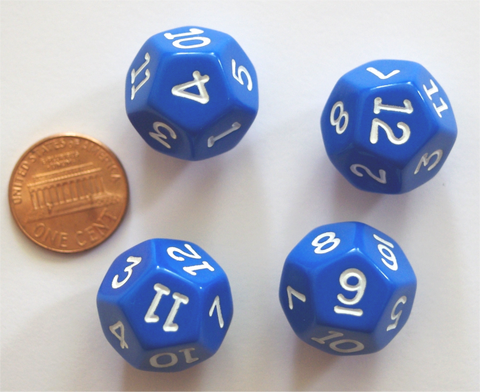 "Four- 12 Sided Blue Polyhedra Dice 3/4"", 19mm, Numbered 1 through 12 (set of 4 dice)"